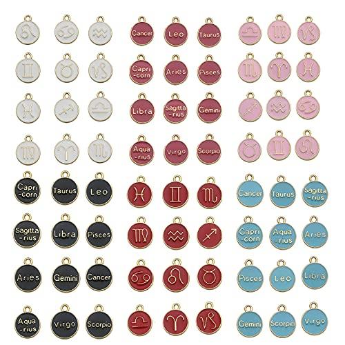 72 Piezas de Encantos de Letras Mixtas del Zodiaco Doce Constelaciones Encantos de Metal Esmaltados Redondos Encantos de Doble Cara para Pulsera de Collar de Bricolaje