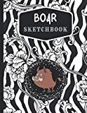Boar Sketchbook: Best blank white pages painting, drawing, w