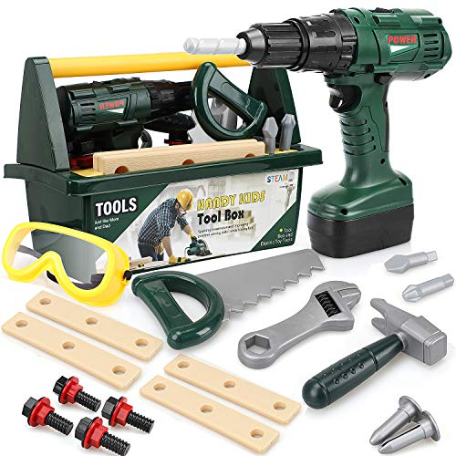 STEAM Life Kids Tool Set for Boys - Toy Tool Set for Toddlers with Kids Tool Box - Toy Drill, Toy Hammer, Saw, Goggles, Power Drill,18 PCS Play Tools for Toddlers Kids Tool Kit Ages 3 4 5 6 7