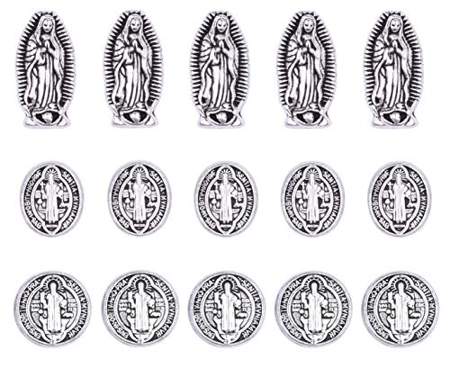 60pcs Mix Antique Silver Alloy Jesus Virgin Mary Religious Wear Saint Benedict Medallion Loose Rosary Spacer Beads Jewelry Making Charms for DIY Necklace Bracelet