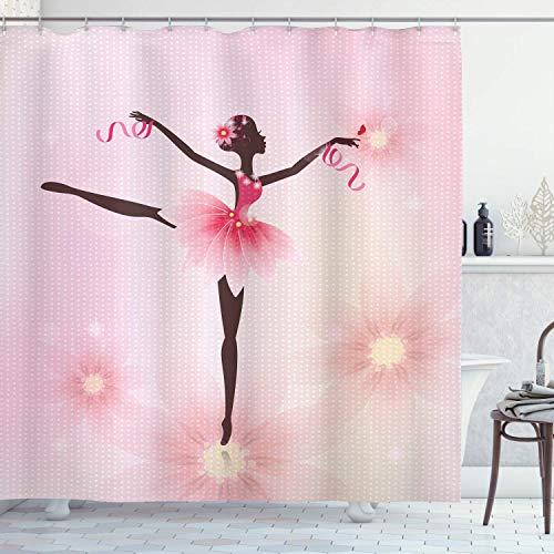Alvaradod Mädchen Duschvorhang,Ballerina Silhouette mit einem Tutu auf gepunktetem Blumenhintergr& Feminin,Stoff Stoff Badezimmer Dekor Set mit,Rosa Umbra mit 12 Kunststoffhaken 180x180cm