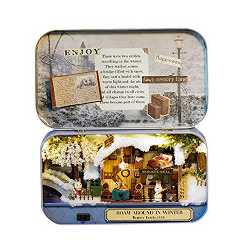 MOPOIN DIY Puppenhaus, DIY Miniatur Puppenhaus Bausatz 3D Puzzles Handgemachte Miniatur DIY Kit Mini Welt in Box mit LED für Valentinstag, Kindertag, Weihnachten, Geburtstag(Roaming im Winter)