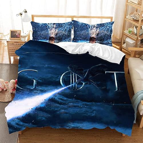 QWAS Juego de ropa de cama de Juego de Tronos, funda nórdica estampada con cremallera, ropa de cama para niños y niñas (X01, 200 x 200 cm + 80 x 80 cm x 2)