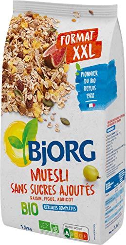 Bjorg Muesli Sans sucres ajoutés Bio - Mélange de fruits et céréales complètes - 1 paquet 1,5 kg