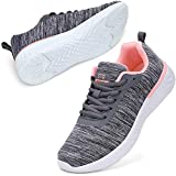 STQ Fashion Sneakers for Women Ultra Lightweight Breathable Mesh Athletic Walking Shoes Grey/Pink US 8
