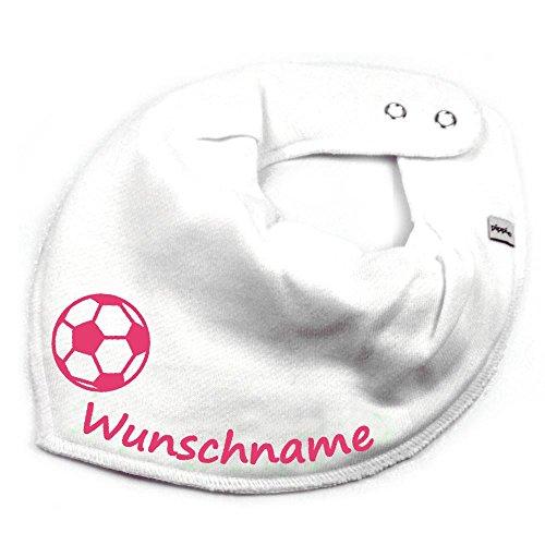 Elefantasie Elefantasie HALSTUCH Fußball mit Namen oder Text personalisiert weiß für Baby oder Kind