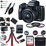 EOS M50 Mirrorless Camera Kit w/EF-M15-45mm and 4K Video - Black - Essential Accessories Bundle