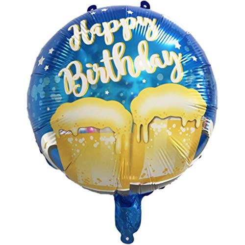 DIWULI, Geburtstags Bier Luftballon Happy Birthday, Prost Folien-Luftballon, Geburtstagsballon, Folien-Ballon blau Geburtstag, Mädchen Junge Kindergeburtstag Party-Deko, Dekoration, Geschenk-Deko