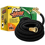 9. Flexi Hose Lightweight Expandable Garden Hose, No-Kink Flexibility, 3/4 Inch Solid Brass Fittings and Double Latex Core