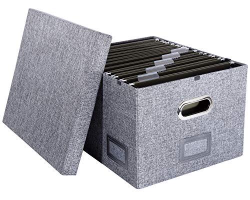 H.K. Rowan & Co. Fabric Hanging File Box - Decorative Filing System Storage Organizer with Smart Glide Rail Fits Legal & Letter Folders (Grey Linen, 1 Pack)