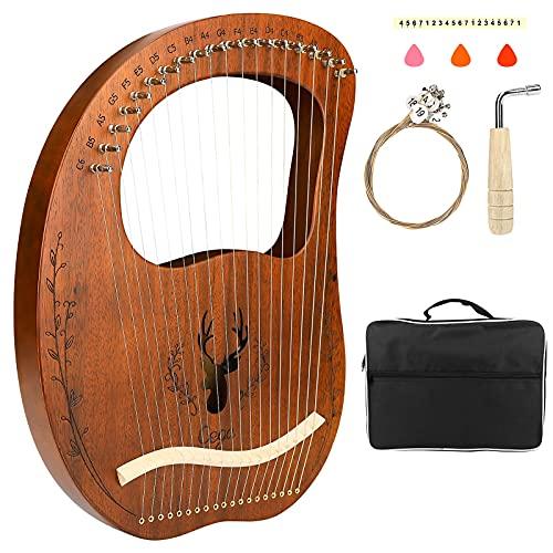 Lyre Harp, CestMall Portable 19 cuerdas Chapa de arpa de caoba con bolsa de transporte/Juego de cuerdas adicional/Llave de afinación/Paño de limpieza/Púas, Instrumento musical de lira grabado