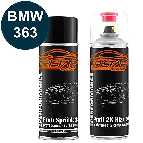 TRISTARcolor Autolack 2K Spraydosen Set für BMW 363 Biarritzblau Metallic Basislack 2 Komponenten Klarlack Sprühdose