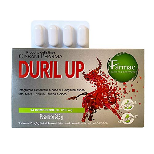 Duril Up, Maca Andina, Tribulus Terrestris, Taurina e L-arginina | 24 compresse, Testosterone + Potenza ed Efficacia duratura | Energizzante naturale, Cisbani Pharma