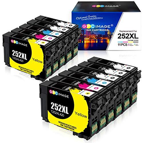 GPC Image Cartuchos de Tinta remanufacturados de Repuesto para Epson 252XL 252 XL T252 T252XL para impresoras Workforce WF-3640 WF-3620 WF-7710 WF-7720 WF-7110 WF-7210 WF-7610 (5BK, 2C, 2M, 2Y)