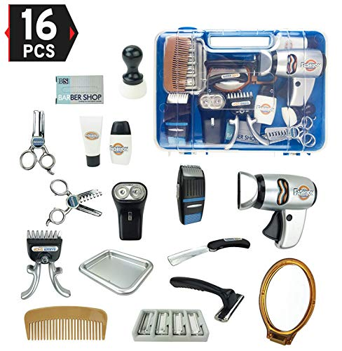 Liberty Imports Fashion Barber Pretend Play Tool Kit, Hair Stylist Salon Playset for Kids with Hair Trimmers, Dryer, Razors and Styling Accessories
