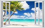 DesFoli Palmen Beach 3D Look Wandtattoo 70 x 115 cm Wanddurchbruch Wandbild Sticker Aufkleber F460