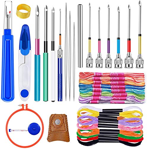 41 Stück Punch Nadel Set, Stickerei Punch Nadel Werkzeug Set mit 20 Stück Stickerei Faden, Nadel Einfädler, Große Naht Ripper, Schere, Thimble und Stickerei Reifen