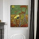Lienzo Pinturas al óleo 《La silla de Gauguin》 Carteles e impresiones de Van Gogh Lienzo Arte de la pared Cuadros en lienzo para la decoración del hogar de la sala de estar 50x62cm 20 'x24' Sin marco
