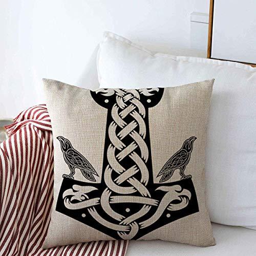 Throw Pillow Covers Edda Thor Mjolnir Ravens Odin Nordic Mjollnir Norse Viking Abstract Algiz Design Celtics Cushion Square Cases Linen for Couch Home Decorations 18' x 18'