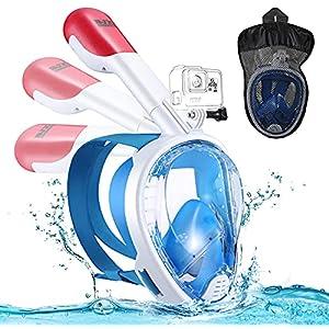 ZONSUSE Maschera da Snorkeling,Maschera Subacquea con Visuale Panoramica 180° Design Pieno Facciale e Compatibile con Videocamere Sportive Mascherina Sub per Immersioni per Unisex Adulti Bambini