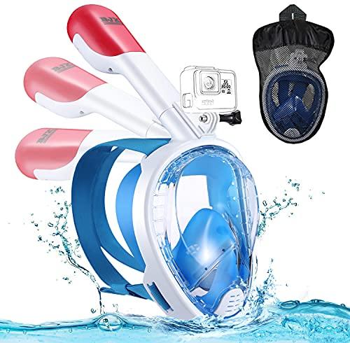 Máscara de Buceo,Mascara de Snorkel,180° Panorámica Gafas Buceo de Cara Completa Gafas de Bucear Anti-Niebla y Anti-Fugas,Apoyo Camara Deportiva para Adultos y Niños y Hombre (Azul)