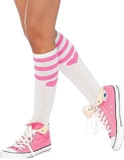 LegAve, Leg Avenue mujeres calcetines hasta la rodilla blanco rayas de color rosa y corazones sobre el tamaño de la unidad 36 a 40