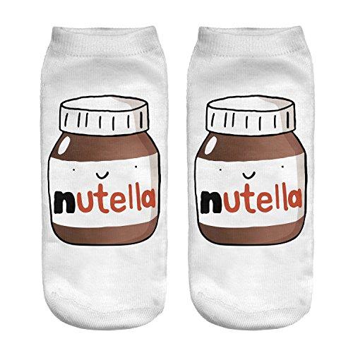 Fringoo® Lustige Socken für Mädchen und Jungen, knöchelhoch, sportlich, Emoji-Socken, für Kinder, Teenager, Fitness, Laufen, 3–6 Gr. One size, NUTELLA