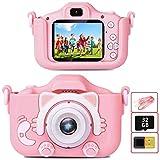 YunLone ToyZoom Macchina Fotografica per Bambini con Scheda SD 32GB,Macchina Fotocamera Bambini Portatile Digitale Videocamera Regalo di Compleanno per Bambini 1080P HD 20MP (Rosa)