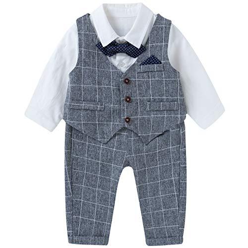 Famuka Baby Jungen Anzüge Sakkos Kinder Smoking Bekleidungsset (Grau, 90cm)