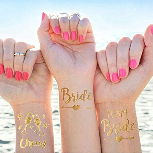 25 Stück Junggesellinnenabschied Tattoos Set, 1 Bride Tattoo und 12 Team Braut Tattoos und 12 Cheers Tattoos für Frauen Bachelorette Party Accessoires Temporäre Tattoos Dekorationen/Deko