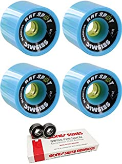 Seismic Skate Systems 76mm Hot Spot Transparent Blue/Yellow Skateboard Wheels - 78.5a with Bones Bearings - 8mm Bones Swiss Skateboard Bearings (8) Pack - Bundle of 2 Items