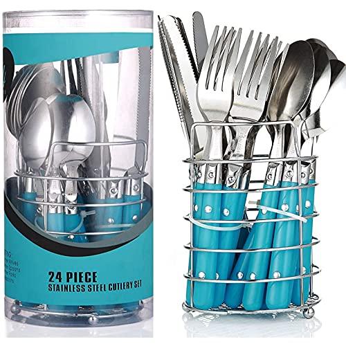 Set de Couverts avec Panier en Métal - Pour 6 Personnes - Lavable au Lave-vaisselle - Acier Inoxydable - Bleu