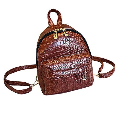 Damen Mini Rucksack, SANFASHION Mode Jugend Leder Rucksack Mädchen Schule Umhängetasche Elegant Backpack (Braun, 18X10X15cm)