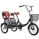 SN Plegable Triciclo Adulto 1 Velocidad 16 Pulgadas Bicicletas De 3 Ruedas con Paso A Través Bajo, Ajustable Bicicleta De Pedal Manpower con Cesta (Color : Black)