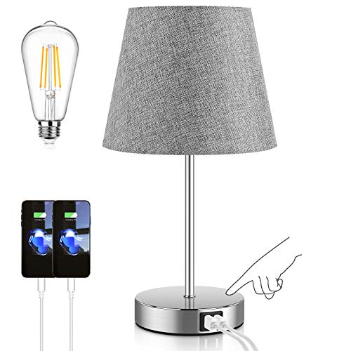 Touch Control Table Lamp with 2 USB Ports and AC Power Outlet 3 Way Dimmable Modern Bedside Nightstand Lamp with Grey Fabric Shade amp Satin Nickle Base for Bedroom Living Room Office LED Bulb Included