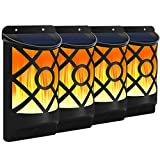 Solar Flame Lights Outdoor, Fitybow Waterproof Flickering Flame Solar Lights Dark Sensor Auto On/Off 66 LED Solar Powered Wall Mounted Night Lights Lattice Design for Patio Deck Driveway (4Packs)