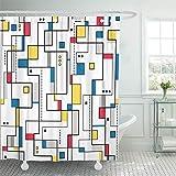 N\A Cortina de Ducha Tela de poliéster Impermeable Gris Bauhaus Amarillo Rojo Azul Patrón Abstracto Colorido Moderno Mondrian Modernismo Set con Ganchos Baño Decorativo