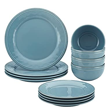 Rachael Ray Cucina 12-Piece Stoneware Dinnerware Set, Agave Blue Plates Bowls