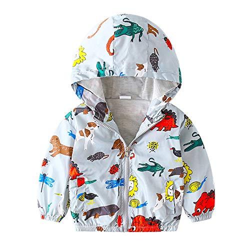 Surwin Cremallera Chaqueta para Bebés, Capucha Abrigo Viento Outwear Chaqueta a Prueba De Viento para bebés niñas niños 1-7 años Dibujos Animados Estampado Cortavientos (Zoológico luz,110cm)