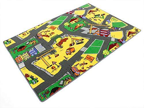 HEVO Baustelle gelb Teppich | Spielteppich | Kinderteppich 135x200 cm Oeko-Tex 100