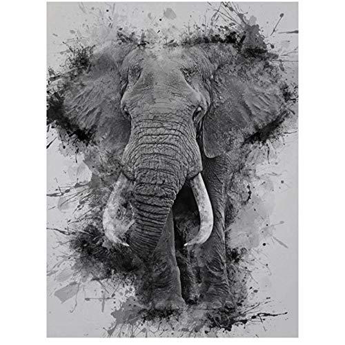 DIY pintura por numerosdiseño 5D Diamante,Elefante animal blanco y negro con diamantes de imitación, para decoración de la pared del hogar-16x20inch/sin marco