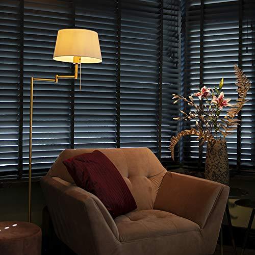 QAZQA rústico Lámpara de pie clásica bronce con pantalla blanca ajustable - Ladas Textil/Acero Alargada Adecuado para LED Max. 1 x 60 Watt