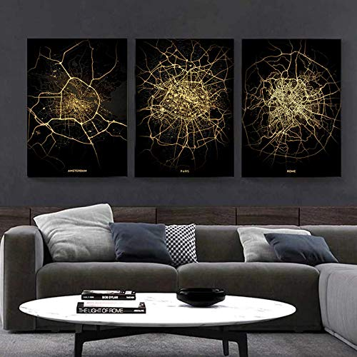 XIANGPEIFBH Black Gold Abstract Lines World City Map Entrance Canvas Paintings For Living Room Prints Home Wall Decoration Posters 40x60cmx3pcs Unframed