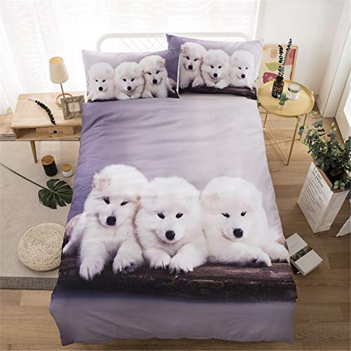 Microfiber Duvet Cover Set, Modern Skin-friendly Classic Cute Furry Dog Double Quilt Bedding Sets with Pillowcase Zipper Closure for Adult Bedroom Decoration (78'*78') White 3PCS,White,220*240CM