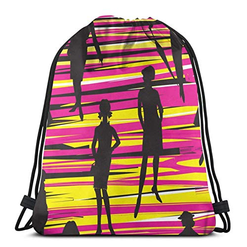Mochilas de Cuerdas Black Woman Shadow Mochila con cordón Gym Sack Cinch Bag String Bag 36X43CM