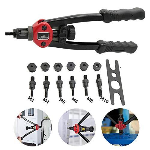 premium easy automatic rivet tool set, nietmutternpistole,gewindeeinsatz niete,nietzange nietmutternzange,handnietzange set,für Aluminium-,Stahl-, Kunststoff- und Vinylblech (A)