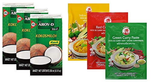 Confezione da 3 latte di cocco AROY-D [3x 250ml] Cocosmilc - Latte di cocco + pasta di curry al gallo 50g rosso, giallo, verde (3x50g)