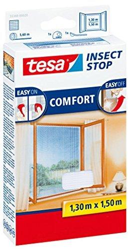 Tesa Insect Stop Comfort Lot de 5 moustiquaires pour fenêtre avec bande Velcro autocollante Blanc 130 cm x 150 cm