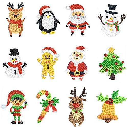 eZAKKA 12Pcs Christmas 5D DIY Diamond Painting Kits Sticker Painting by Numbers Full Round Drill Art Craft