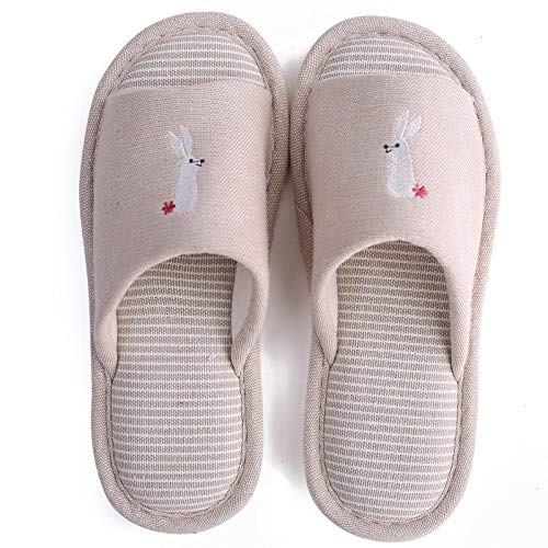Zapatos caseros zapatillas de interior Zapatos de parejas de cáñamo de la casa lindo conejo patrón dormitorio algodón plano toboganes primavera otoño casero conejito lino ladies zapatillas memoria aco